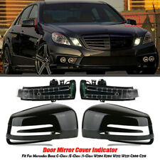 Pair Door Mirror Cover Cap w/ LED Turn Signals For Mercedes-Benz W212 W204 W221