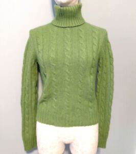 The Limited Womens S Green Turtleneck Sweater Soft Wool Angora Cashmere Blend