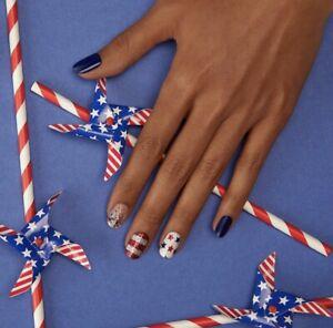 Dashing Diva Gloss Ultra Shine Gel Nail Strips 34 Strips Red White And Blue