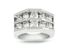 Gold Round Cut Channel Setting G Si1 1.90ct Diamond Wedding Band Ring 14k White