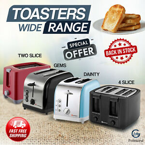 2,4 Slice Wide Toaster Bagel Toast Safe Reheat Cancel Browning Control Function