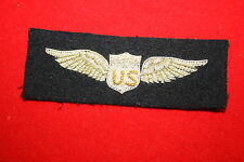 EXCELLENT COPY WW1 - 1920'S US AMERICAN PILOT WING BULLION WIRE NICE DETAIL