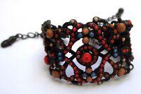 bracelet bijou style vintage victorien couleur cuivre vieil or perles 80