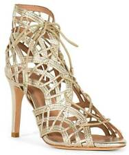 Joie $385 White Gold Leather Leah Caged Sandals Gladiators US 5 EU 35