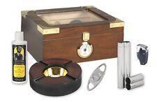 Elegant Capri 25-50 Glass Top Cigar Humidor Gift Set and Accessory Kit