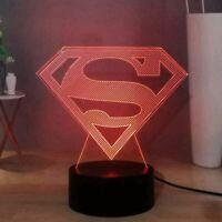 Superman Logo Illusion LED Lamp, 3D Light Experience - 7 Colors Options