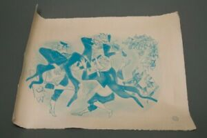 "Vintage Signed Printing Proof Folk Art French Dancing Peasants Blue 30"" x 22"""