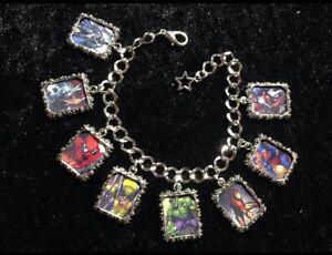 Silver Plated Charm Bracelet With Charms Marvel DC Comics Deadpool Batman Theme