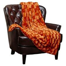 Soft Warm Regal Rich Luxurious Dark Orange Faux Fur Style Plush Throw Blanket