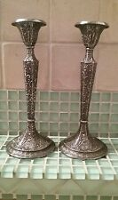 ANTIQUE DERBY SP CO. Silver Plate Candle Holders Pair Repousse Circa 1800's Old