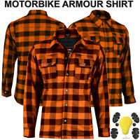 Men Motorbike Motorcycle Shirt Lumberjack Reinforced CE Armour Aramid Protection