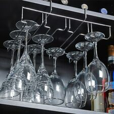 Chrome Under Shelf Cupboard Hanging Metal Wine Glasses Rack Stemware Holder Bar