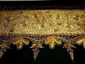 Long fine wool pediment with gold bullion embroidery