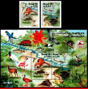 2554-56 BRAZIL 1995 LUBRAPEX, BIRDS, PHIL. EXHIBITION, MI# 2664-65 B99, MNH