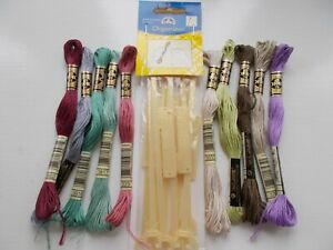 Cross StitchThreads Assorted colours 10 skeins + 10 Stitchbows New by DMC