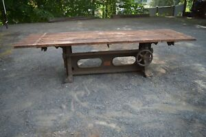 Iron crank dining base table industrial design adjustable 92 by 33 top 24-33H