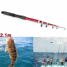 Portable Fishing Pole Tackle Carbon Fiber Spinning Lure Rod 2.1 m YK