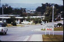 Org Photo Slide 1960's Vietnam war military Base Town City street scene car sign