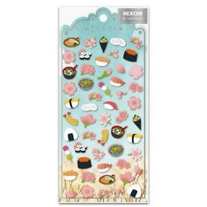 CUTE SAKURA SUSHI STICKERS Cherry Blossom Paper Sticker Sheet Kawaii Scrapbook