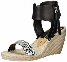 DOLCE VITA women's GISELE Espadrille WEDGE SANDALS Ankle Zip Black/White size 8