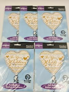 """5 x 18"""" Heart Your Wedding Day Foil Helium Party Balloon Silver Gold  job lot"""