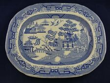 Antique Victorian Blue & White Willow Platter Meat Plate