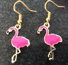 CUTE FLAMINGO HOT PINK ENAMEL EARRINGS, Gold Plated Hooks present in Gift Bag
