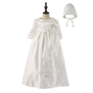 Tradition Baby Girls Embroidery Long Christening Dress Bonnet 0 3 6 9 12 Months