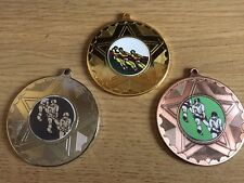 3xTUG OF WAR MEDALS (50mm) GOLD,SILVER & BRONZE-FREE ENGRAVING,CENTRES & RIBBONS