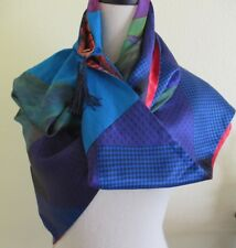 Arty Square Shawl Reversible Colorful Scarf Vest with Buttons Tassels BOTE NY