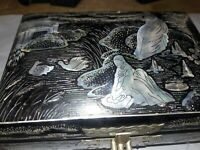 Vintage  Japanese Black Lacquer Jewelry Box Inlaid Abalone Mother of Pearl