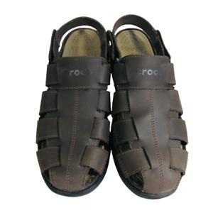 Crocs Mens Shoes Brown Fisherman Leather Sandals Size 12