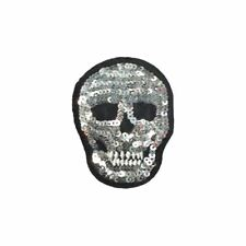 Silver Sequin Skull (Iron On) Embroidery Applique Patch Sew Iron Badge