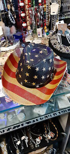 CHILDRENS Red White And Blue American Flag Cowboy Hat Excellent NWT