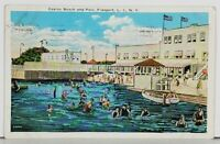 Freeport Long Island NY Casino Beach and Pool c1930s Postcard J20