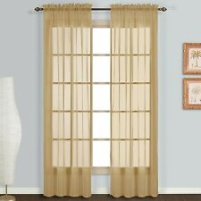 "United Curtain Monte Carlo Sheer Window Curtain Panel, 59x84"", Bronze, Set of 2"