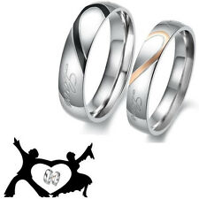 Valentine's Day Heart Love Stainless Steel Couples Engagement Wedding Band Rings