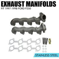Set of 2 Exhaust Manifolds Driver & Passenger Side Fit 1997-1998 Ford F250