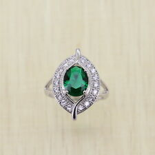 EMERALD SOLITAIRE STERLING SILVER DIPPED RING SIZE N EYE Edwardian Style TOPAZ 7