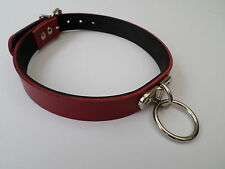"""red and black leather collar large o ring fetish bondage 12-15""""  20mm wide"""
