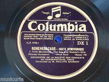 """78rpm 2x12"""" SCHEHEREZADE SUITE gaubert - orch de la societe des concerts DX 1&2"""