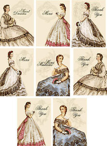 Vintage victorian thank you merci small note cards tags set of 8 with envelopes
