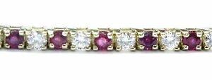 Fine Gem Ruby Diamond Yellow Gold Tennis Bracelet 5.30CT 7""
