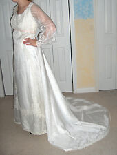 CUSTOM WHITE WEDDING GOWN SIZE 8 DETACHABLE TRAIN LACE APPLIQUE PINK RIBBON