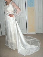 CUSTOM WHITE WEDDING GOWN SIZE 8 DETACHABLE TRAIN LACE APPLIQUE PINK RIBBON
