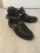 H & M Black Cut Out Ankle Boots With Studs Size 6.5