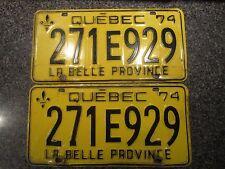 1974 Quebec La Belle Province License Plate Pair Set 271E929