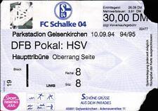 Ticket DFB-Pokal 94/95 FC Schalke 04 - Hamburger SV, 10.09.1994 - Haupttribüne