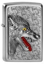 ZIPPO Feuerzeug WOLF HEAD m. Emblem Satin Chrome Wolfkopf Raubtier NEU OVP