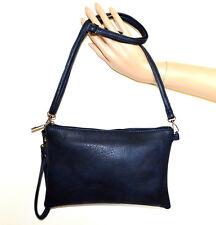 BORSELLO BLU donna borsa eco pelle borsetta tracolla pochette sac bag clutch G84